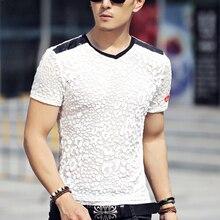 T-shirt m-5xl t-shirt männer Plus größe männer sommer silk kurzarm v-ausschnitt 3d t-shirt mens t shirts leopard design t tops