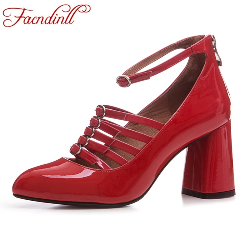 FACNDINLL new rome style hot sale spring women pumps pointed toe thin high heels shoes woman sexy black red dress party shoes facndinll new black patent genuine leather pointed toe rhinestone sexy high heels lace up women pumps ladies party casual shoes