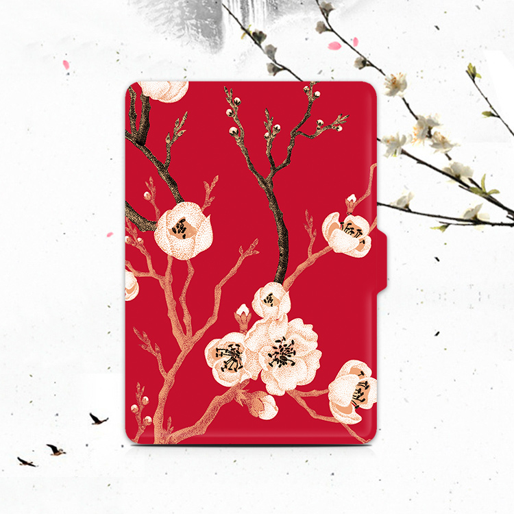 New Plum Blossom Design Kindle Paperwhite Case 3 2 1, Folio Pu Leather Tablet Cover for Amazon Voyage/ 8th Kindle Case 6 Inch pink marble grain magnet pu flip cover for amazon kindle paperwhite 1 2 3 449 558 case 6 inch ebook tablet case leather case