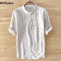 Summer New Casual Short sleeved Linen Men T Shirt