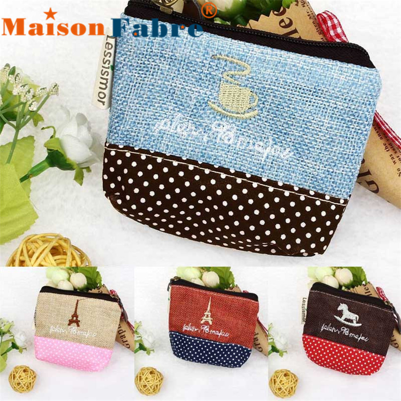 Hot Sale Small Canvas Purse Zip Wallet Lady Coin Case Bag Handbag Key Holder Coin Purses wholesale DE13