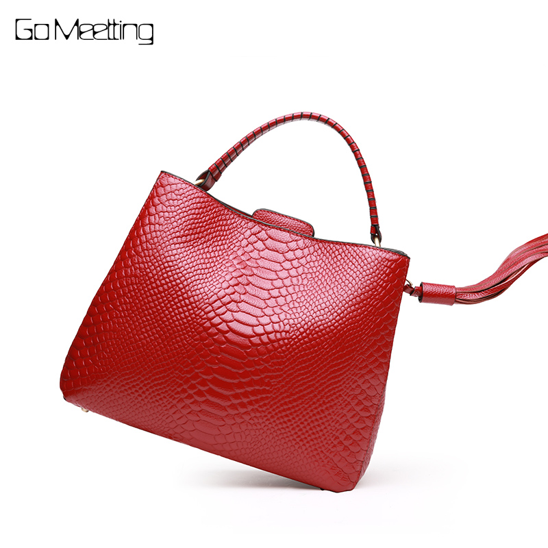 Go Meetting Women Handbag Genuine Leather Alligator Cross body Bag Cowhide Crocodile Messenger Bags Female Shoulder Bags Totes цена 2017