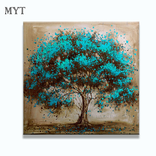 Hand Made Oil Painting On Canvas Tree Red Flower Oil Painting ...