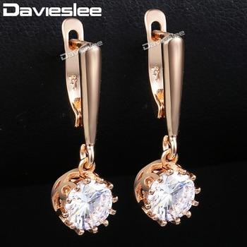 f74341f30b49 Davieslee Stud pendientes para las mujeres 585 Rose Gold Filled forma  redonda Zirconia cúbico para mujer pendiente moda joyería chicas DGE159