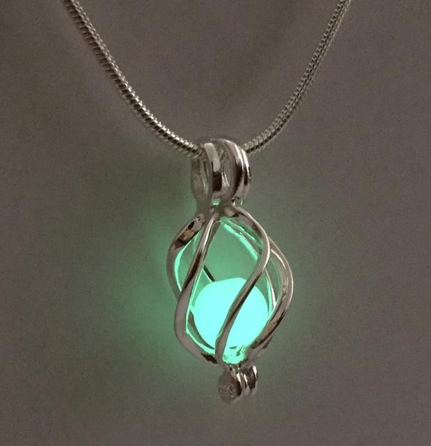 Twisted lantern shape luminous glowing bead pendant necklace twisted lantern shape luminous glowing bead pendant necklace glowing stone pendant 925 sterling silver can open aloadofball Choice Image