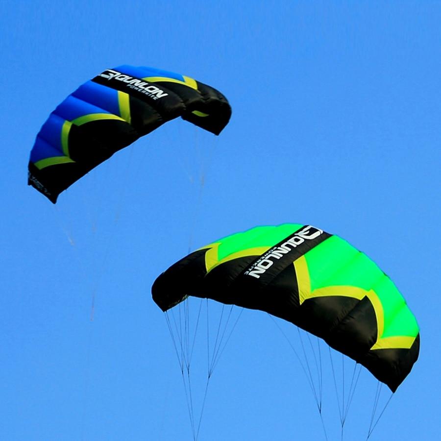 Green 3Sqm Outdoor Sport Stunt Kite Dual Line Parafoil Power Kite For Kitesurfing Trainer With Kite Line String Wrist Wrap