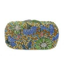 ผู้หญิงโลหะที่ไม่ซ้ำกันดอกไม้เพชรR Hinestonesเย็นจัดเลี้ยงกระเป๋าคลัทช์วันเรียงรายคริสตัลกระเป๋าถือสีเขียวสีแดงสีฟ้า