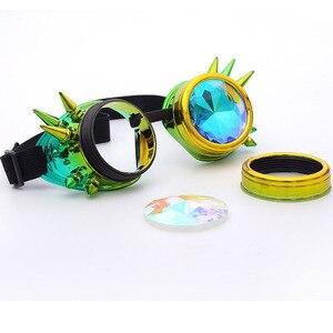 Image 5 - Kaleydoskop renkli gözlük Rave festivali parti EDM güneş gözlüğü Diffracted Lens Steampunk gözlük erkek kaynak gotik Cosplay