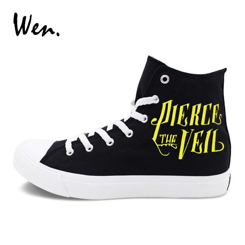 Wen Men Women Sneakers Black Canvas Hand Painted Shoes Design Pierce The Veil Skateboarding Shoes High Top Flat