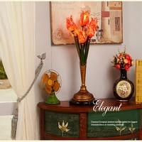 Flowers Table Lamp Mediterranean Vintage Personality Glass Desk Lamp Living Room Bedroom Bedside Art Deco Light