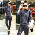 Women Winter Velvet Tracksuits Casual Zip Cardigan Tops Long Pants Flannel Sporting Suits 2 piece Coat Set For Female Plus Size