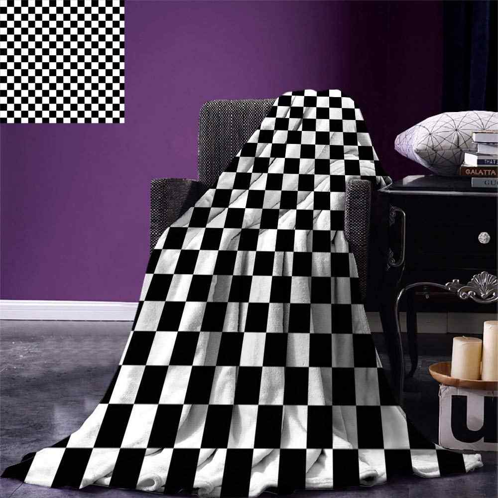 Christmas Checkers Game Throw Blanket Geometric Grid Style Monochrome Squares in Traditional Game Board Design Home Blanket