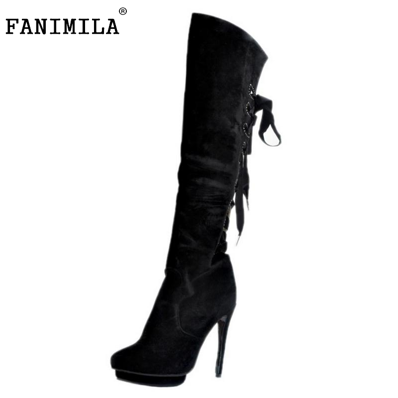 Women Round Toe Platform Over Knee Boots Sexy Woman Thin High Heel Shoes Fashion Cross Strap Heels Long Botas Size 34-47 riding boots chunky heels platform faux pu leather round toe mid calf boots fashion cross straps 2017 new hot woman shoes