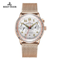 Reef Tiger/RT Retro luxury Watches for Men Date Waterproof Perpetual Calendar Watches Rose Gold Automatic Watches RGA9122