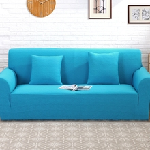 Blue jacquard stretch furniture covers for living room 100 polyester knitted universal corner sofa cover elastic