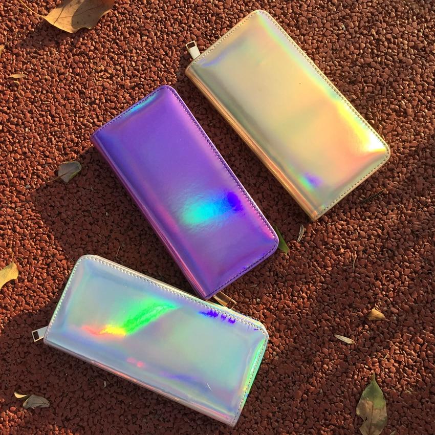 2017 New Leather Women Wallet Hologram Bag Laser Silver Clutch Wallet Long Female Money Purse Bank
