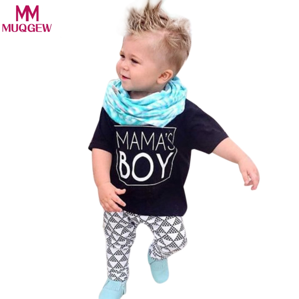 Toddler Boys Clothing Sets 2018 Summer New Letter MAMA'S BOY T Shirt+Pants 2pcs Boy Girl Clothing Set For Kids Baby Clothes humor bear baby girl clothes set new sequins letter long sleeve t shirt stars skirt 2pcs girl clothing sets kids clothes