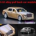 1:32 aleación tire volver modelos de coches, metal a troquel, automóviles de juguete, musical & flashing, Rolls-royce modelos de aleación de coche fantasma, envío gratis