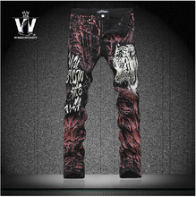 New fashion Tiger 3D printing jeans autumn personalized Nightclubs hair stylist flower pants casual Brand pants Men's Feet pants