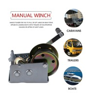Manual Hand Winch With Webbing Sling 2500lbs Boat Trailer Caravan 6M 19ft Strap Length Marine Puller Hand Tool Lifting Sling
