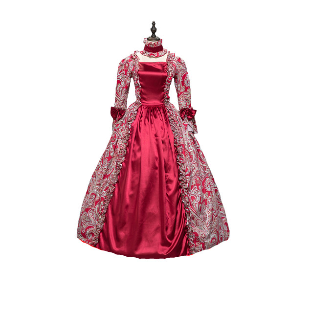 KEMAO Dress Red Georgian Renaissance Princess Dress Gothic Masquerade Ball Gown Theater Costume