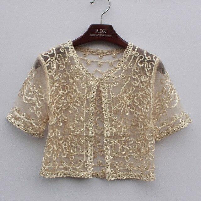 Women Basic Coat Embroidery Ribbon Bead Embellished Short Sleeve Cardigan See-Through Sheer Lace Mesh Bolero Top Jacket 6