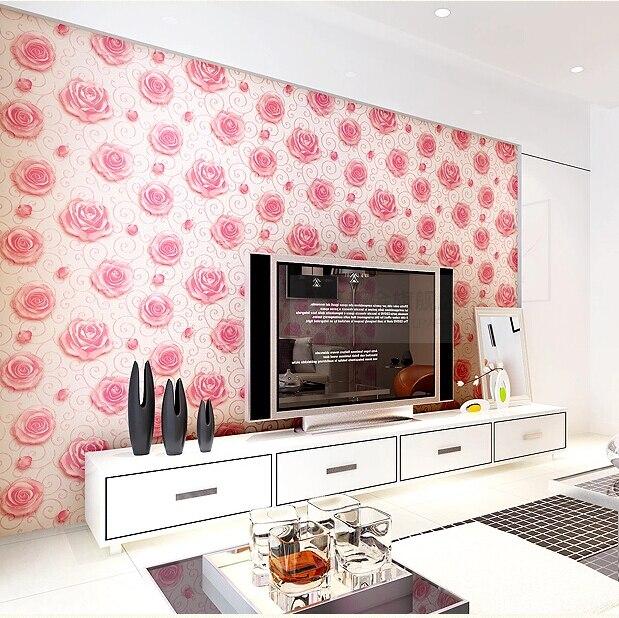 Modern Romantic Roses Background Wallpaper 3D Embossed Rose Flower ...
