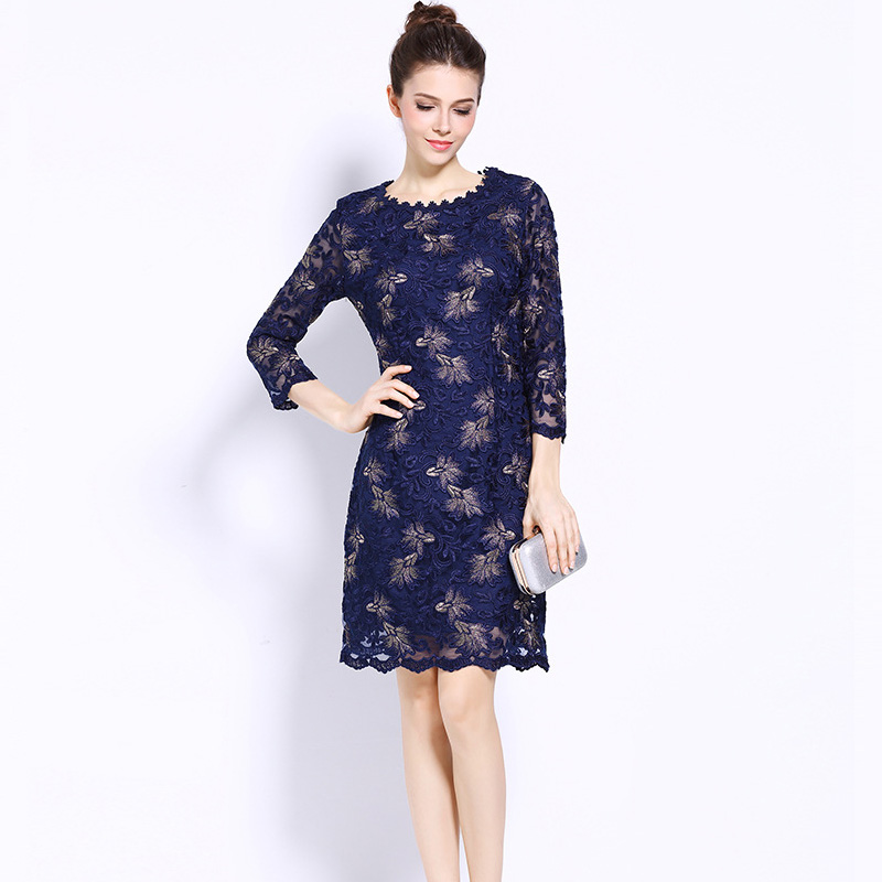 Femmes mode Plus siz dentelle broderie robes automne imprimer 5XL grande taille robes grande taille fête bureau robe vacances
