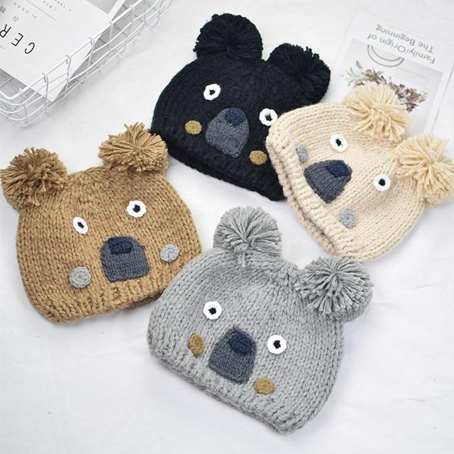d3f743b6856 Knitted Hat Girl Boy Cute Cartoon Koala Winter Hats Warm Thick Caps  Children Beanies Autumn Kids