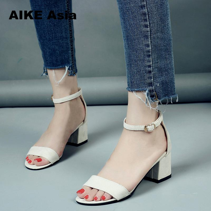 2018 Summer Hollow Women Sandals Thick High Heel Ankle Strap Sandalias Mujer Fashion Sandal Female Black Party Shoes #528 new summer sandal high heel women thick bottom female sandals casual shoes fashion leather sandal comfortable sweet cute woman