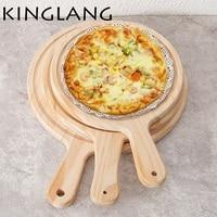 Alta qualidade breakboard placa de paletes de madeira de Pizza De 12 polegadas bolo pan casa em estilo japonês pallet de madeira prato Grande com alça
