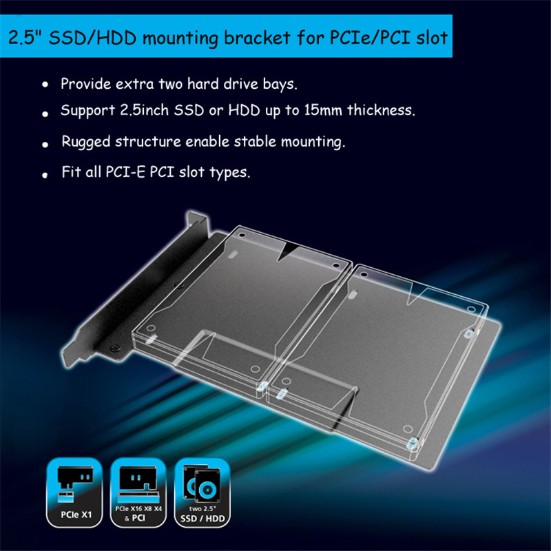 2.5inch SSD HDD Mounting Adapter Bracket Double Hard Drive Bay HDD Storage Metal Rack For PCIe/PCI Slot