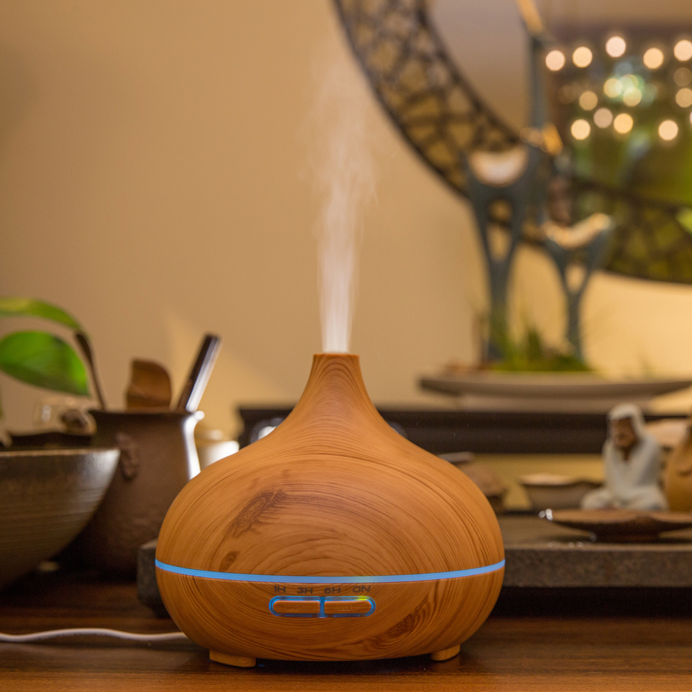 400 Ml Aroma Diffuser Oil Air Humidifier Ultrasonic Usb Essential Oil Diffuser Wood Grain Colorful LED Light for Home Office400 Ml Aroma Diffuser Oil Air Humidifier Ultrasonic Usb Essential Oil Diffuser Wood Grain Colorful LED Light for Home Office
