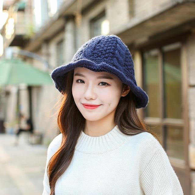 5b069262059 HT1335 Thick Warm Knitted Crochet Bucket Hats Female Roll Brim Fisherman  Hats Casual Panama Hats Hot Women Autumn Winter Hats