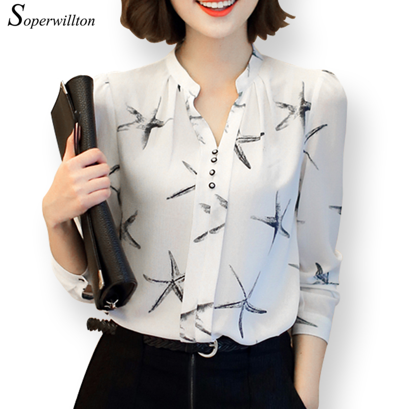 Soperwillton Hot Sale Summer New Arrival Female Long-sleeve Blouse Women Shirt Chiffon Ruffle Tops Camisa Renda Blusa #a506