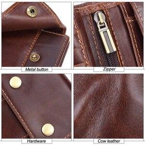Image 5 - GENODERN Genuine Leather Men Wallets Vintage Hasp Design Women Money Bag Zipper Pocket Card Holder Male Portomonee Coin Purse