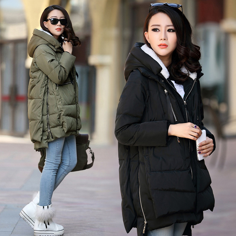 Maternity Winter Cotton Coat Plus Size S-5XL Zipper Big Pocket  Pregnant Women Army Green Outwear Jackets Hooded Thicken Coats
