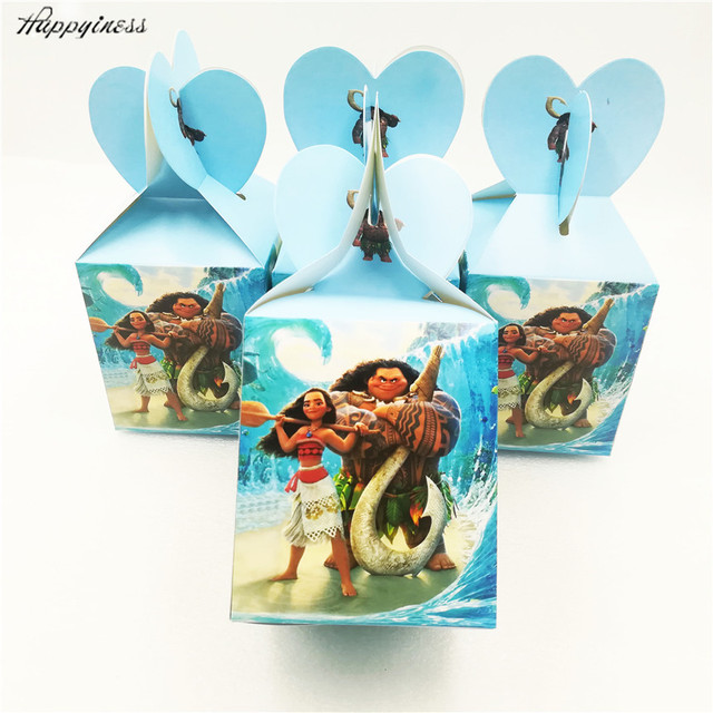 6pcs Set Funny Moana Party Supplies Candy Box Case Gift Kids Birthday Favor Accessory Decoration Favors