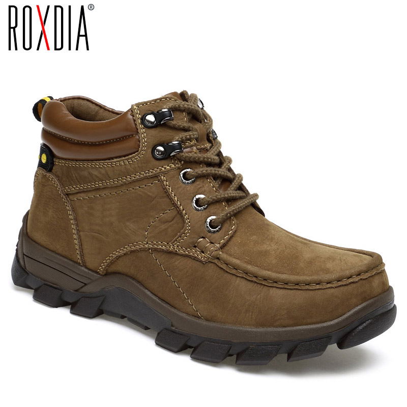 ROXDIA genuine leather for men ankle boots winter snow warm cowboy waterproof safety male shoes plus