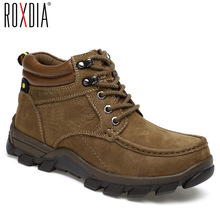Ankle-Boots ROXDIA Cowboy Genuine-Leather Male Shoes Safety Waterproof Winter Men
