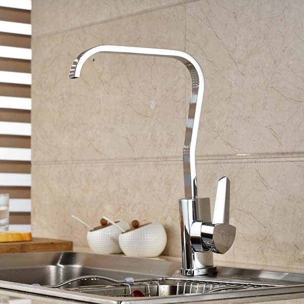 Single Handle Chrome Brass Kitchen Faucet Swivel Spout Waterfall Spout Single Handle Hole Mixer Tap free shipping high quality chrome brass kitchen faucet single handle sink mixer tap pull put sprayer swivel spout faucet