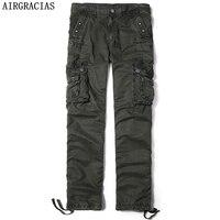 Airgracias الساخن بيع الرجال متعدد جيوب الموضة عارضة السراويل الطويلة 100% القطن مريحة فضفاضة الذكور العسكري السراويل البضائع