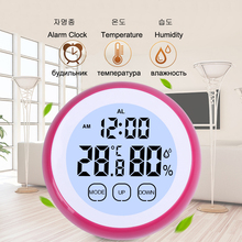 Touch Screen LCD Digital Alarm Clock Thermometer Hygrometer Temperature Instruments Humidity Sensor Meter Thermograph Hygrograph digital hygrometer thermometer alarm clock calendar lcd screen