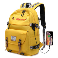 New Design Casual Daypack Women Backpack Solid Canvas School Bag for Teenage Girls Boys 1415 Laptop Bagpack Mochila Yellow