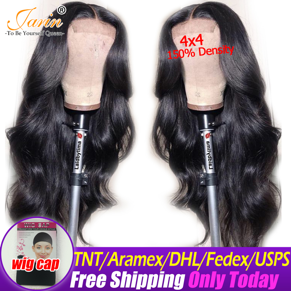 Jarin 4x4 Lace Front Human Hair Wigs Pre Plucked 150 Density Brazilian Body Wave Wigs Natural
