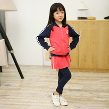 Girls Autumn cotton clothing set zipper coat skinny leggings skirt children set girls clothes 3 4