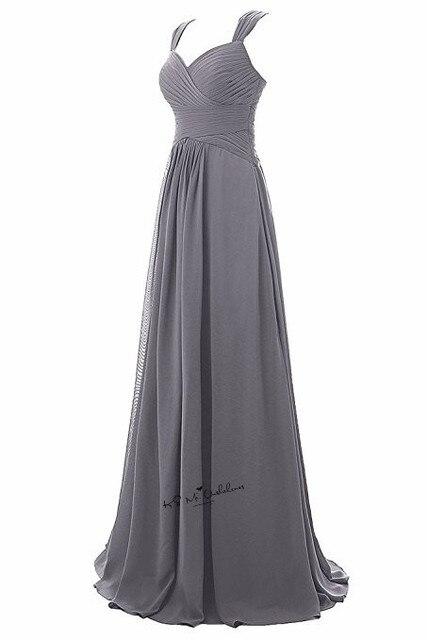 Robe Demoiselle d'honneur Gray Bridesmaid Dresses Long Elegant Wedding Party Dress Straps Custom Made Cheap Prom Gowns Jurken