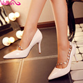 VALLKIN Size 34-39 Thin High Heels Slip On Pointed Toe Women Pumps Rivets Buckle Pu Patent Leather Spring/Autumn  Wedding Shoes