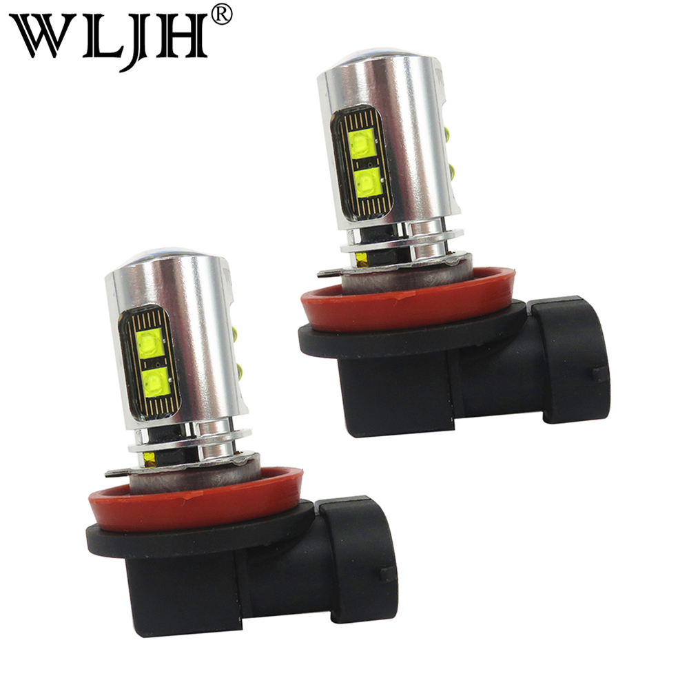 WLJH 2x White 6000K 800lm H8 Led Car Auto <font><b>Running</b></font> <font><b>Lights</b></font> Fog <font><b>Light</b></font> Bulb Lamp for <font><b>Chevrolet</b></font> <font><b>Cruze</b></font> <font><b>2011</b></font> 2012 2013 2014 2015 2016 image