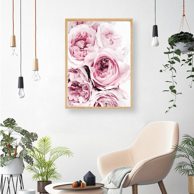 Pink Floral Peony Scandi Canvas Painting Wall Art Picture , Flower  Photography Poster Canvas Print Scandinavian
